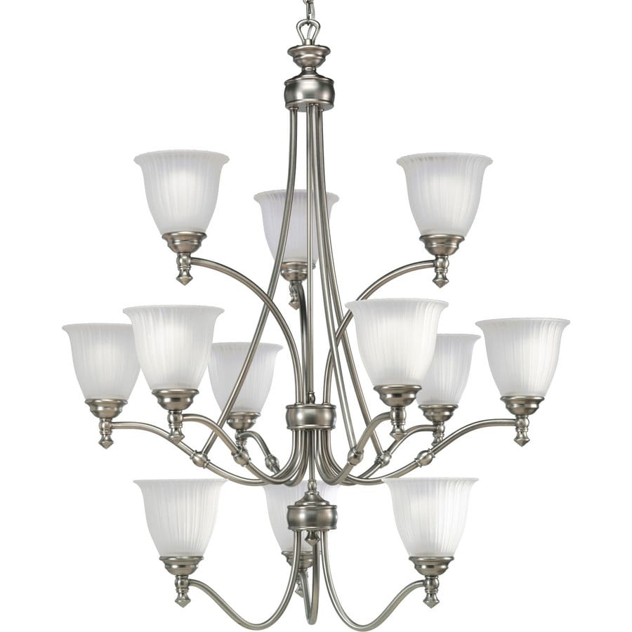 Progress Lighting Renovations 33-in 12-Light Antique Nickel Etched Glass Tiered Chandelier