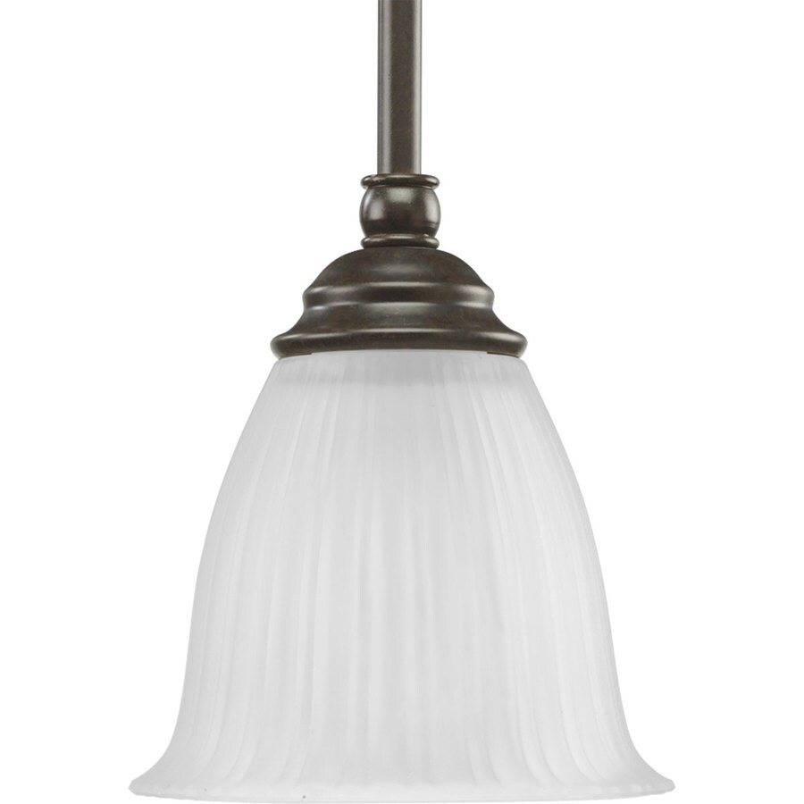 Progress Lighting Renovations 6-in W Forged Bronze Mini Pendant Light with Frosted Glass Shade