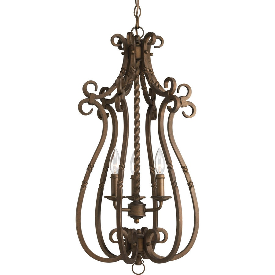 Progress Lighting Santiago 14.25-in 3-Light Roasted java Rustic Shaded Chandelier