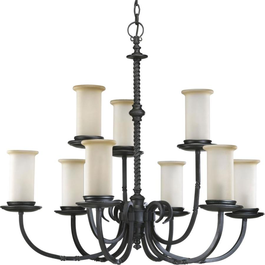 Progress Lighting Santiago 32-in 9-Light Forged black Rustic Tinted Glass Tiered Chandelier