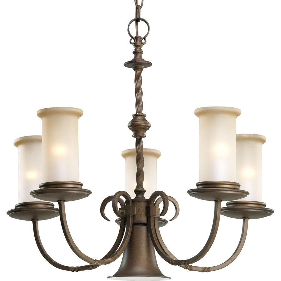 Progress Lighting Santiago 24.25-in 5-Light Roasted Java Rustic Tinted Glass Shaded Chandelier