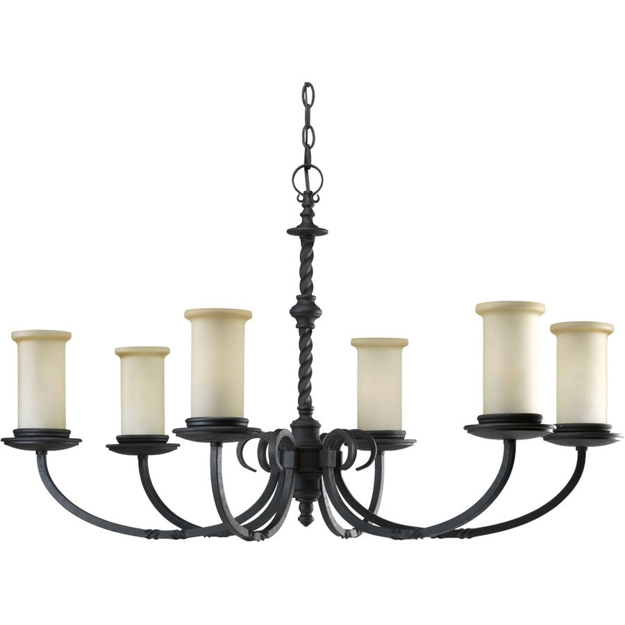 Progress Lighting Santiago 37.875-in 6-Light Forged black Rustic Tinted Glass Shaded Chandelier