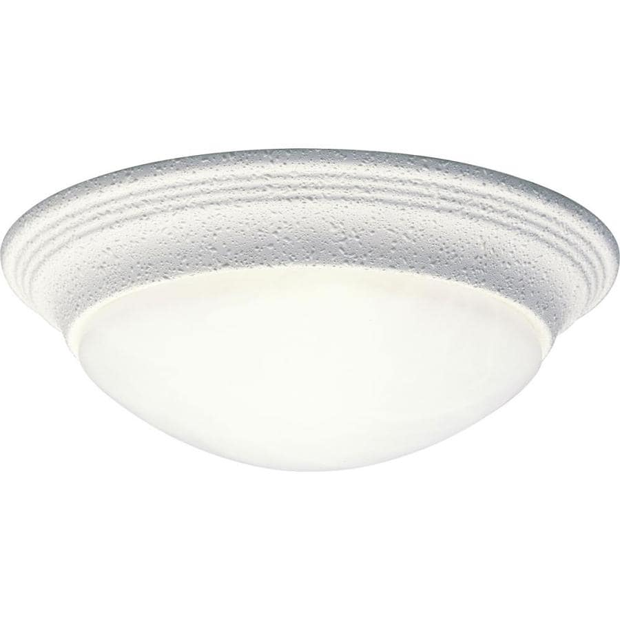 Progress Lighting Alabaster Glass 11.5-in W White Standard Flush Mount Light