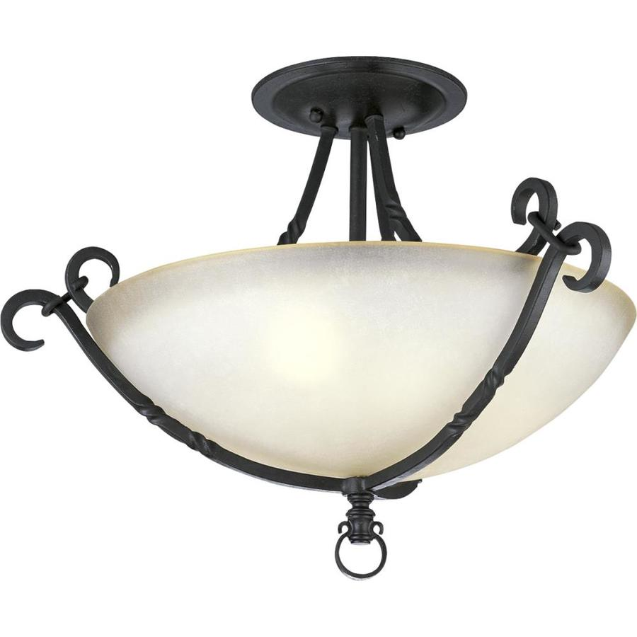 Progress Lighting Santiago 19.87-in W Forged Black Tea-Stained Glass Semi-Flush Mount Light