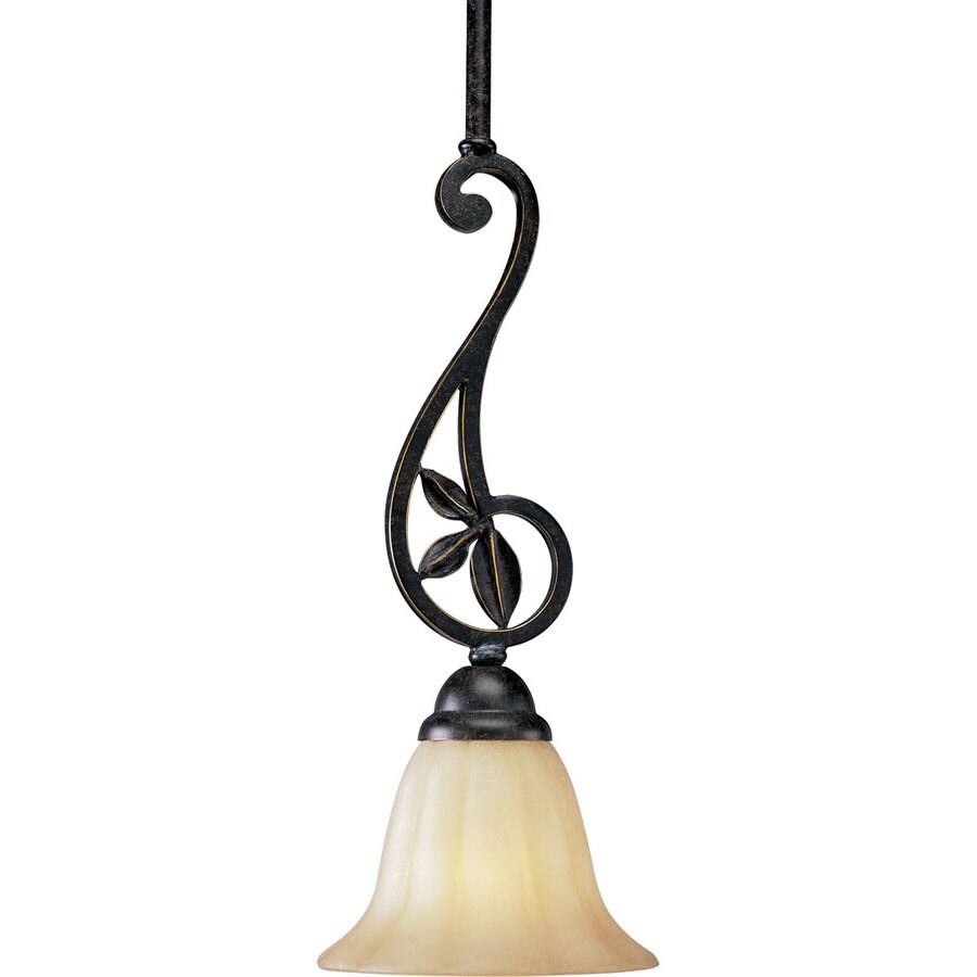Progress Lighting Le Jardin 7-in Espresso Mini Textured Glass Bell Pendant