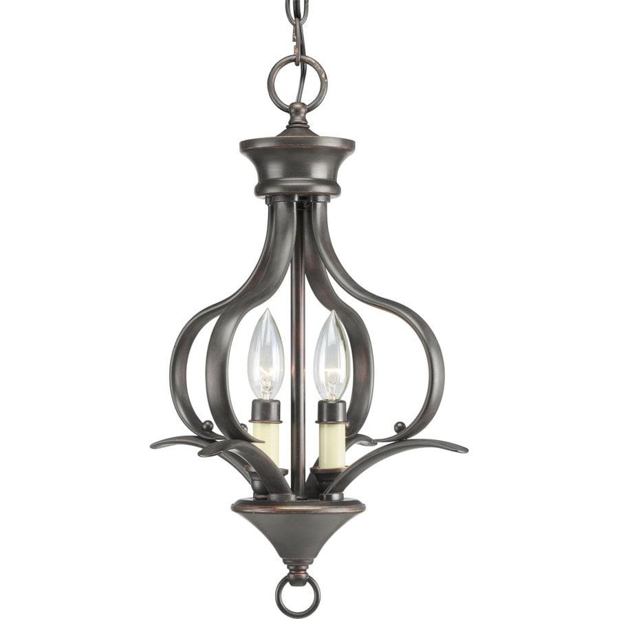 Progress Lighting Trinity 12-in 2-Light Antique bronze Shaded Chandelier