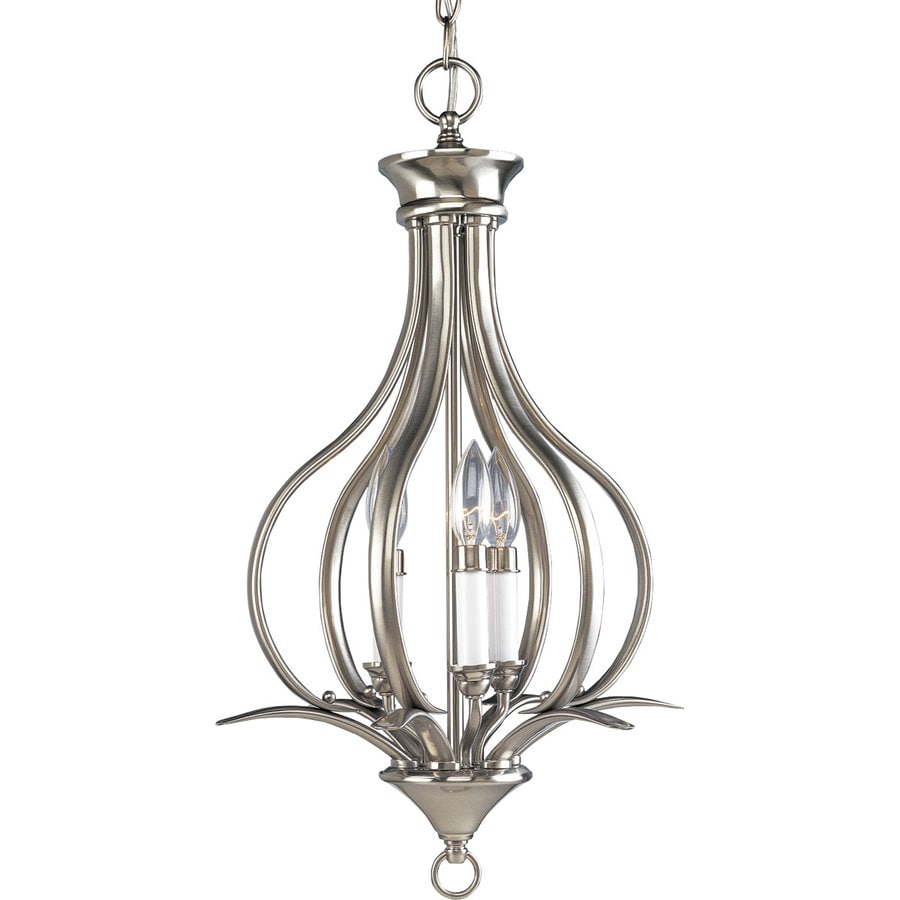 Progress Lighting Trinity 13.5-in 3-Light Brushed Nickel Shaded Chandelier