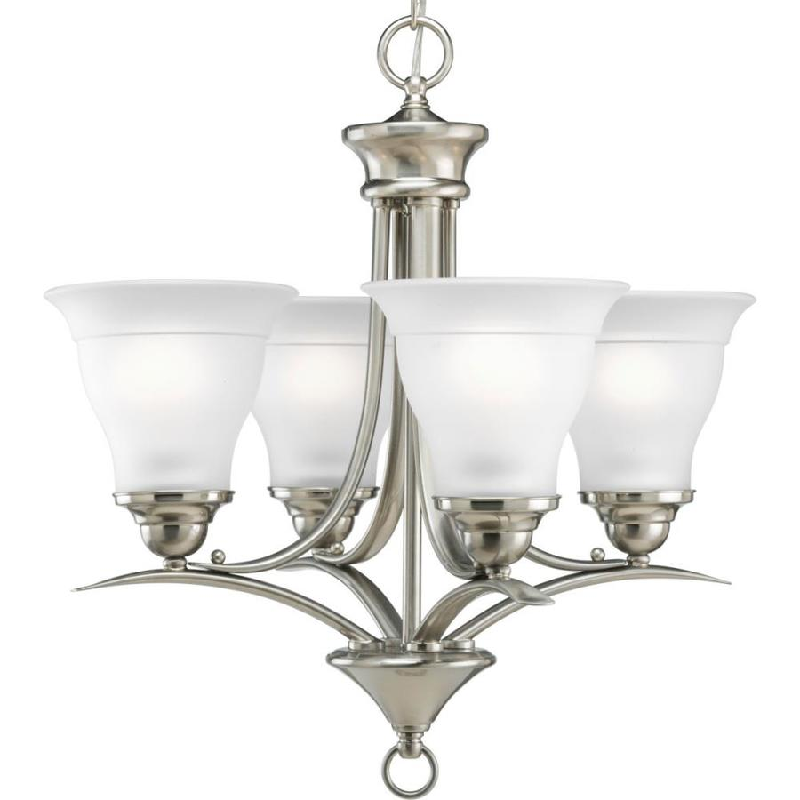 Progress Lighting Trinity 19-in 4-Light Brushed Nickel Etched Glass Shaded Chandelier