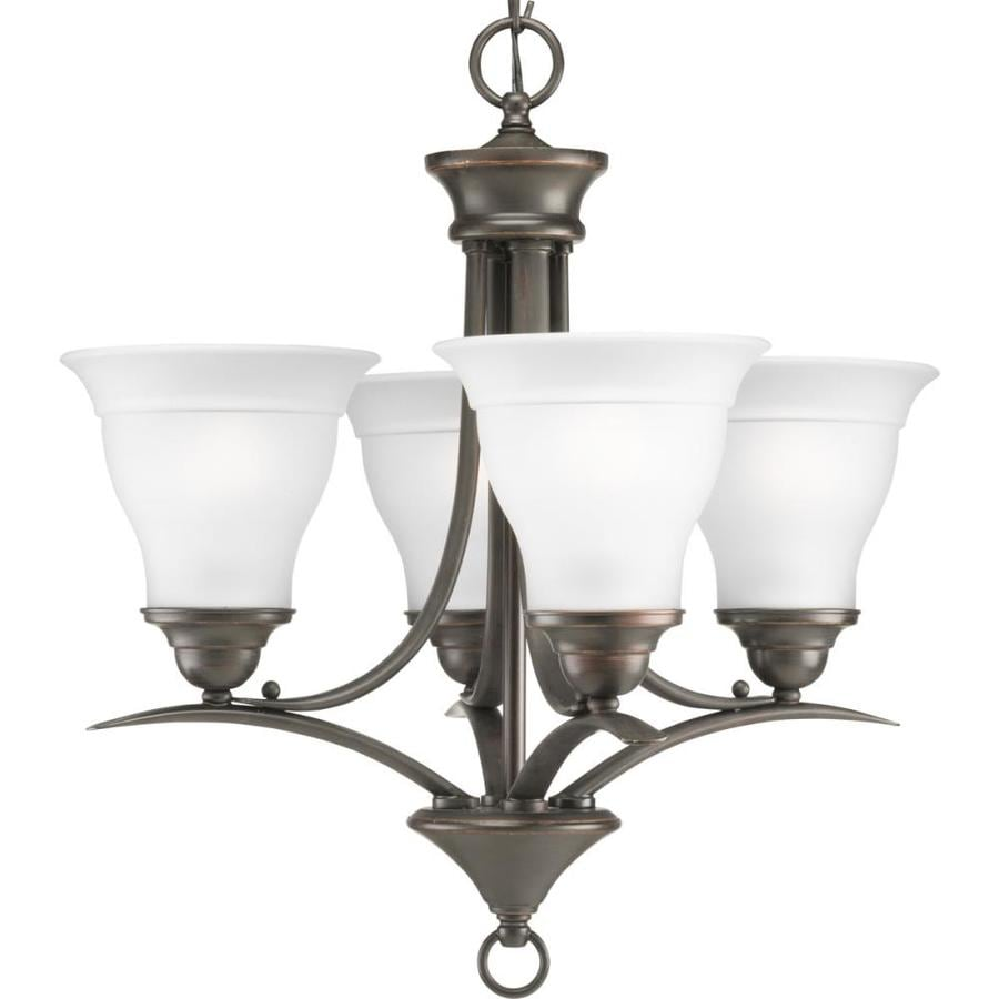Progress Lighting Trinity 19-in 4-Light Antique Bronze Etched Glass Shaded Chandelier