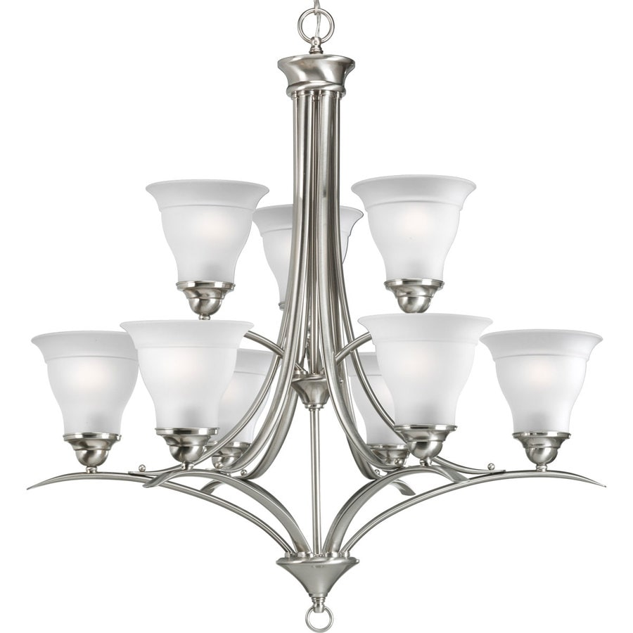 Progress Lighting Trinity 30-in 9-Light Brushed Nickel Etched Glass Tiered Chandelier