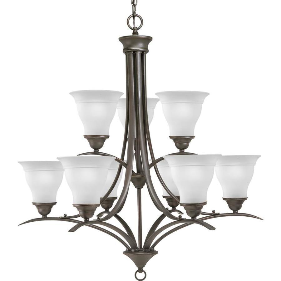 Progress Lighting Trinity 30-in 9-Light Antique bronze Etched Glass Tiered Chandelier