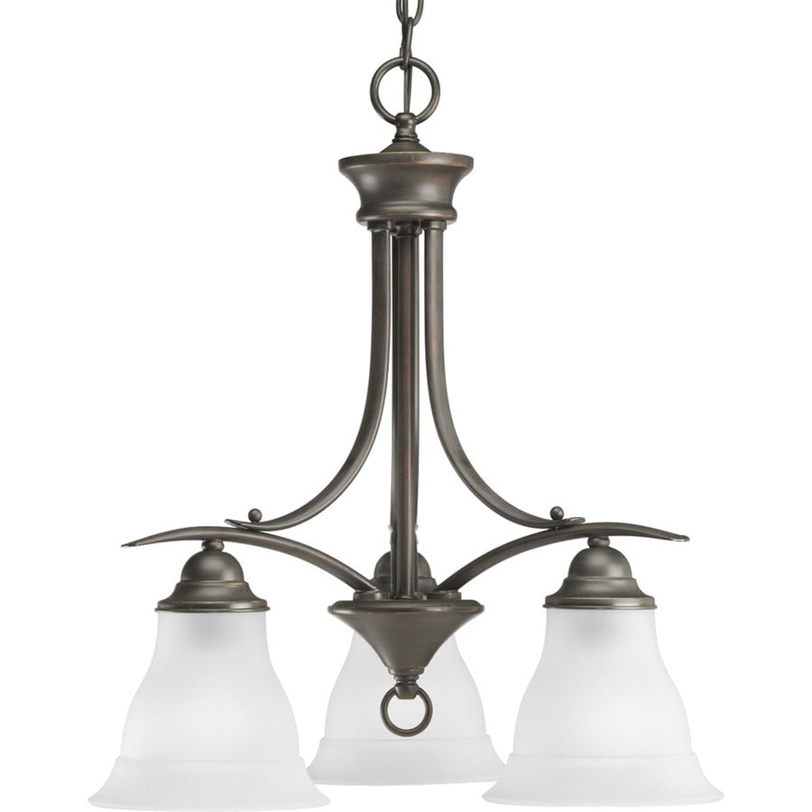 Progress Lighting Trinity 19-in 3-Light Antique Bronze Etched Glass Shaded Chandelier