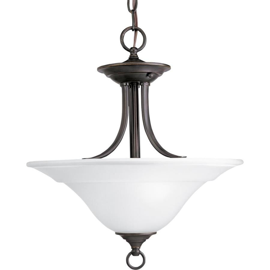 Progress Lighting Trinity 16-in W Antique Bronze Frosted Glass Semi-Flush Mount Light