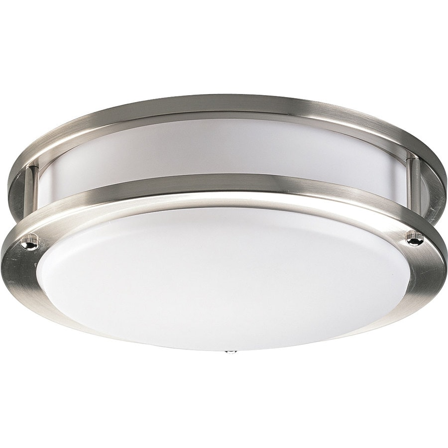 Progress Lighting Acrylic Round 10.375-in W Brushed nickel Flush Mount Light ENERGY STAR