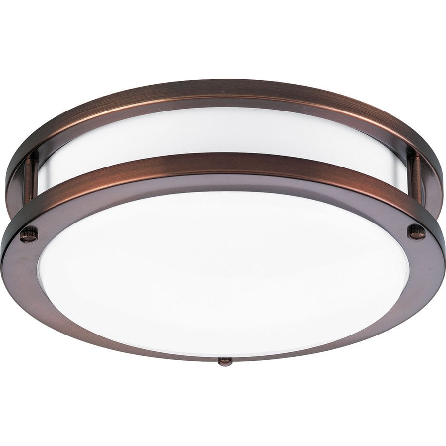 Progress Lighting Acrylic Round 10.375-in W Urban bronze Flush Mount Light ENERGY STAR