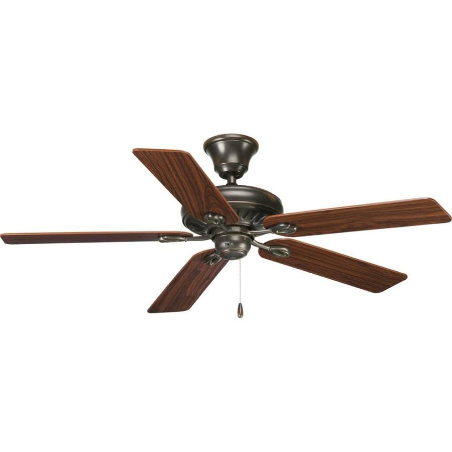 Progress Lighting AirPro Signature 52-in Antique bronze Indoor Downrod Or Close Mount Ceiling Fan ENERGY STAR
