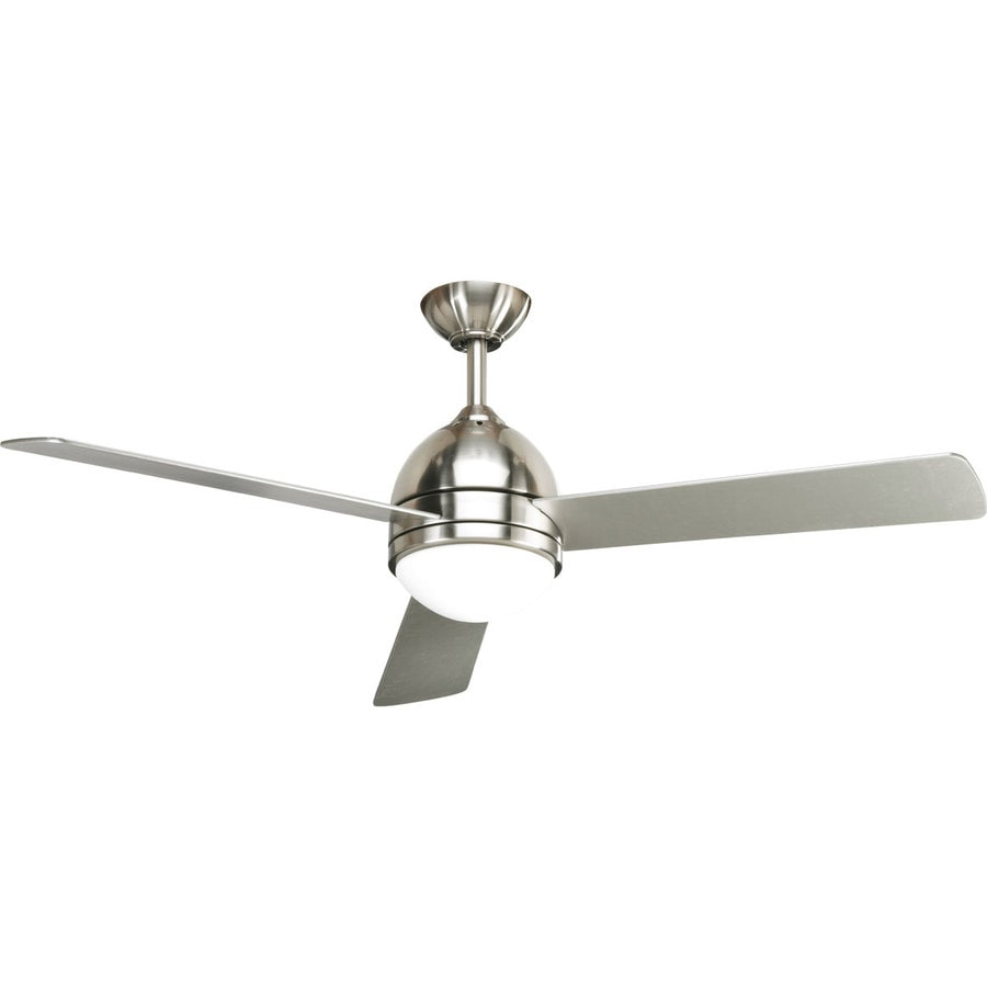 Progress Lighting Trevina 52-in Brushed nickel Indoor Downrod Mount Ceiling Fan with Light Kit and Remote (3-Blade)