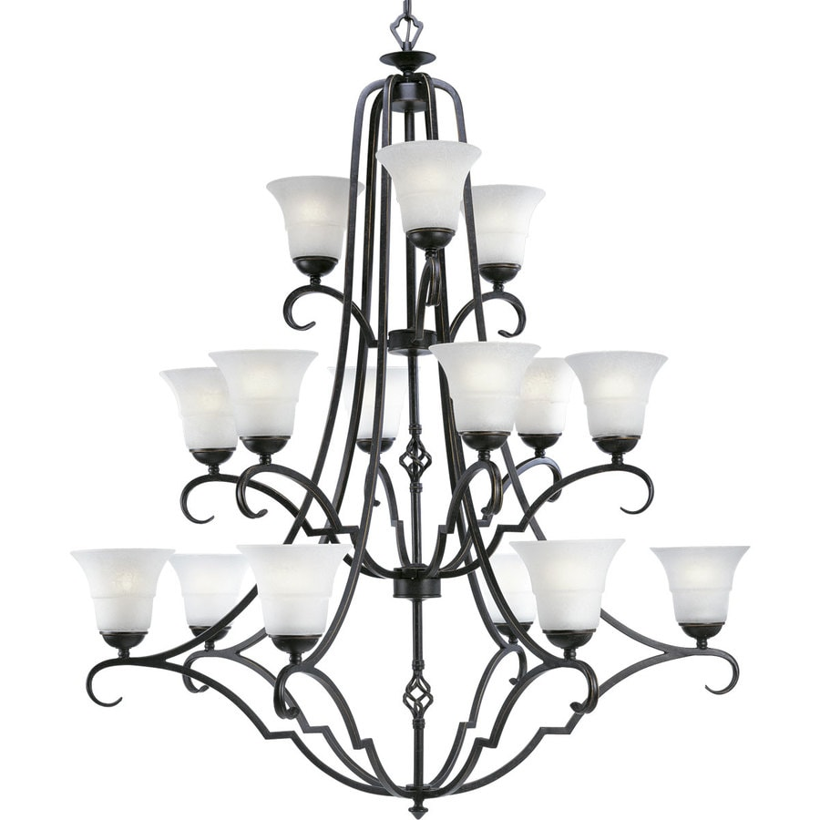 Progress Lighting Melbourne 42.5-in 15-Light Espresso Craftsman Etched Glass Tiered Chandelier