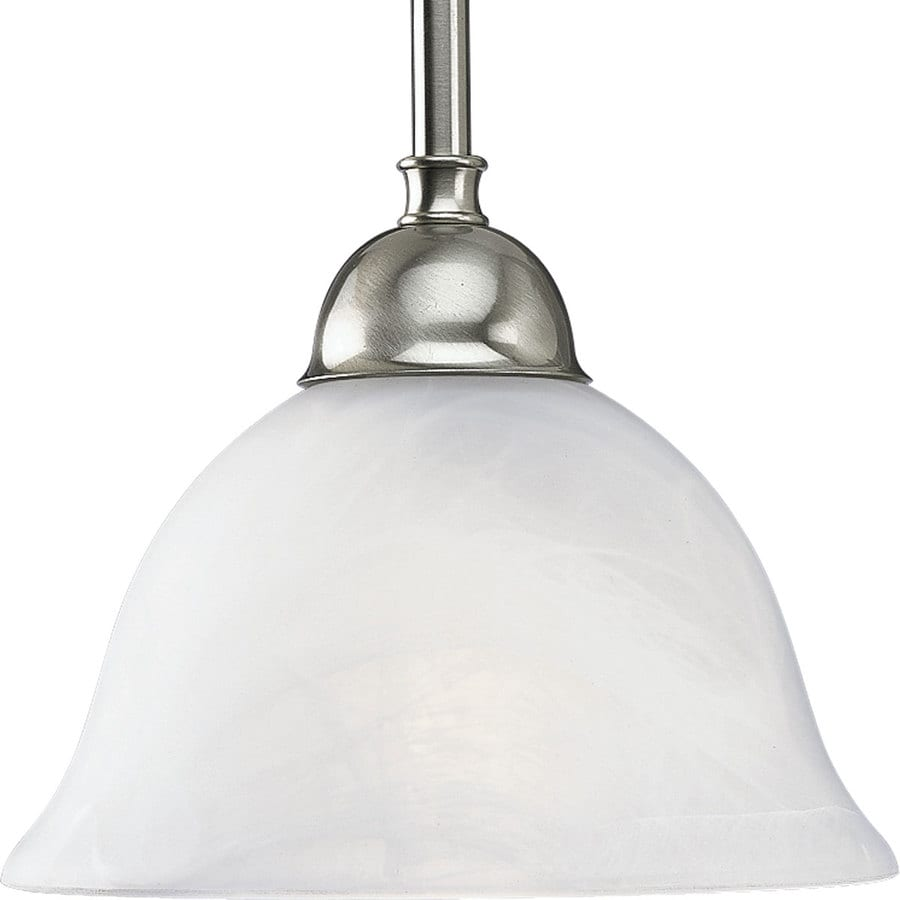 Progress Lighting Avalon 7.75-in Brushed Nickel Mini Alabaster Glass Bell Pendant