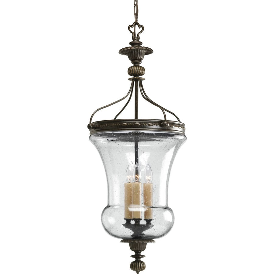 Progress Lighting Fiorentino 15.875-in 3-Light Forged Bronze Seeded Glass Shaded Chandelier