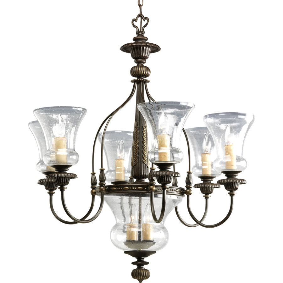 Progress Lighting Fiorentino 29.375-in 6-Light Forged Bronze Seeded Glass Tiered Chandelier