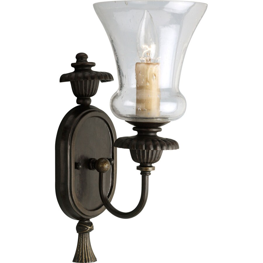Progress Lighting Fiorentino 6.37-in W 1-Light Forged Bronze Candle Wall Sconce