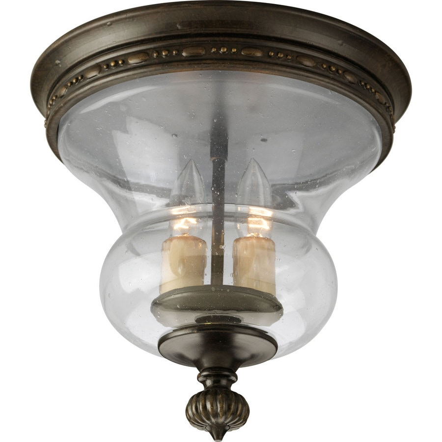 Progress Lighting Fiorentino 11.75-in W Forged bronze Flush Mount Light