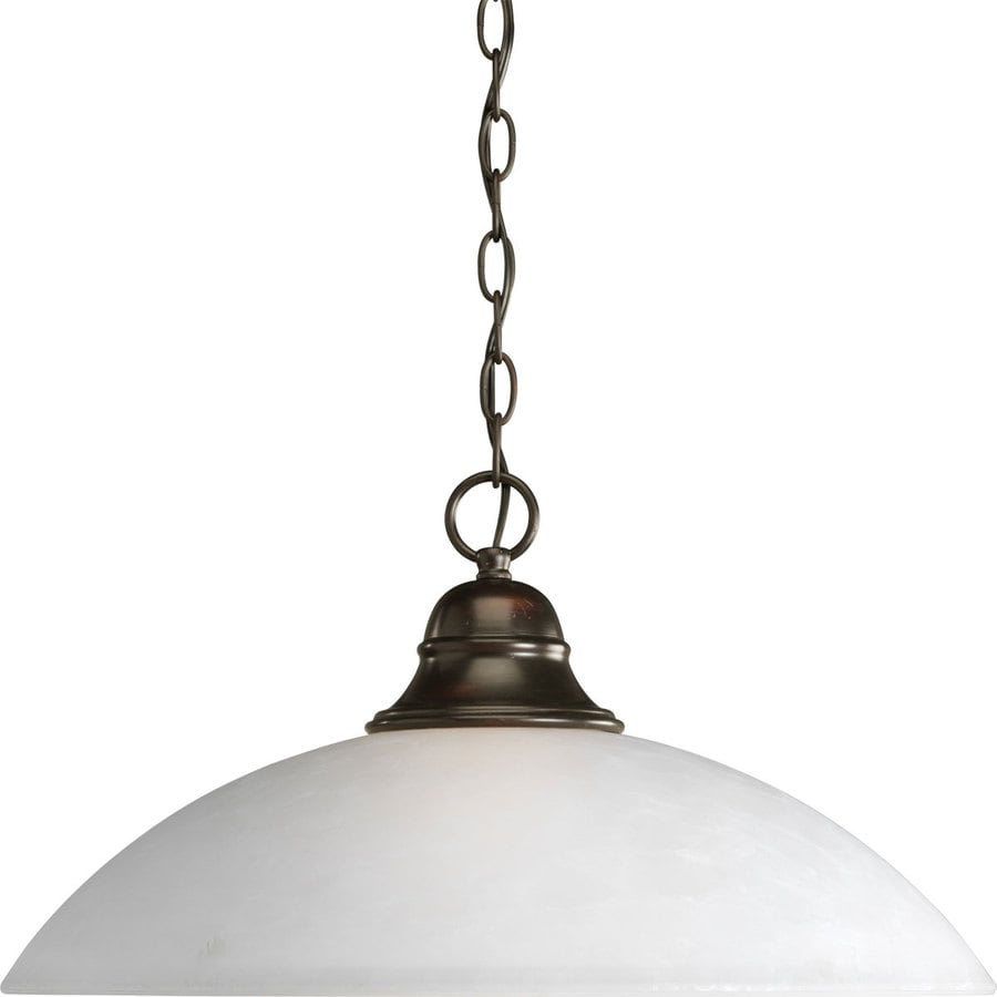 Progress Lighting Pavilion 20.25-in Antique Bronze Single Etched Glass Dome Pendant