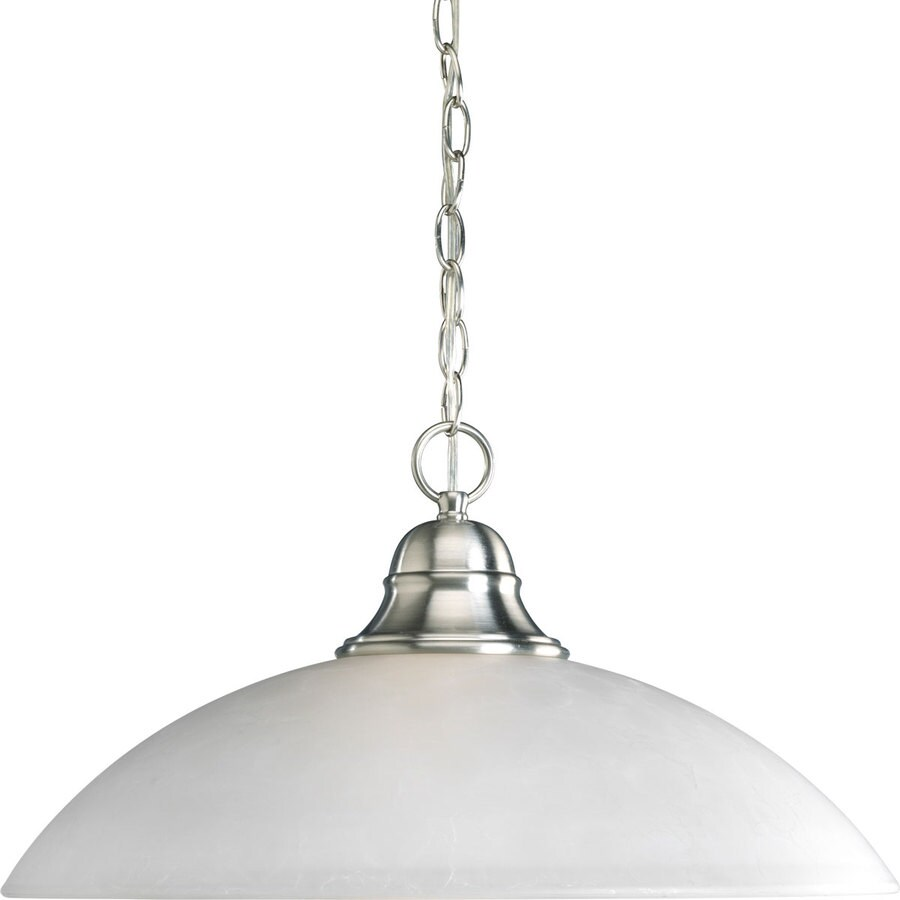 Progress Lighting Pavilion 20.25-in Brushed Nickel Single Etched Glass Dome Pendant