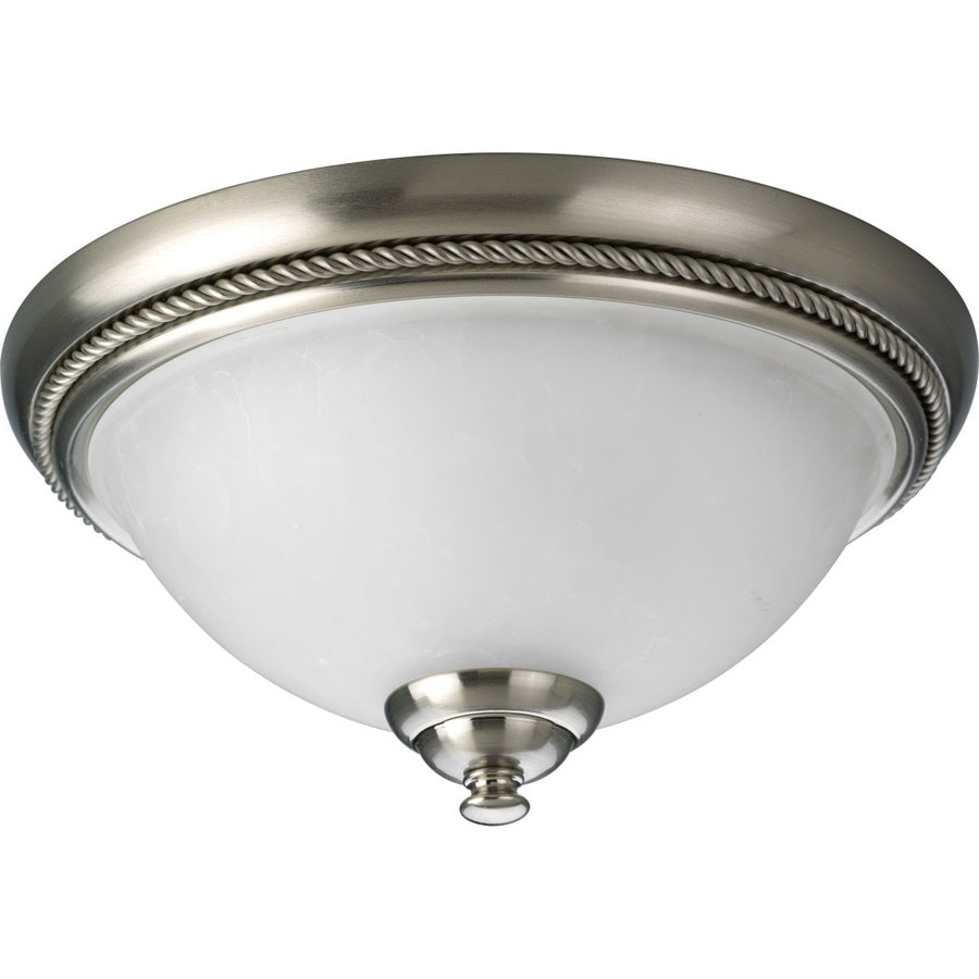 Progress Lighting Pavilion 12-in W Brushed Nickel Flush Mount Light