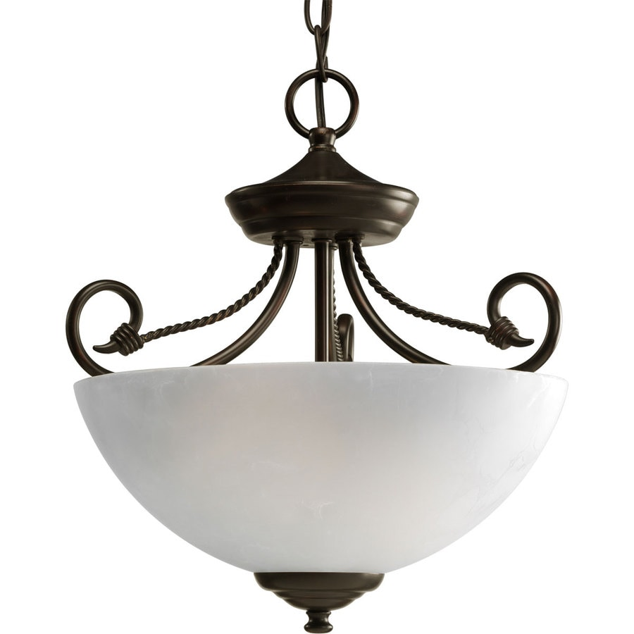 Progress Lighting Pavilion 13.62-in W Antique Bronze Frosted Glass Semi-Flush Mount Light