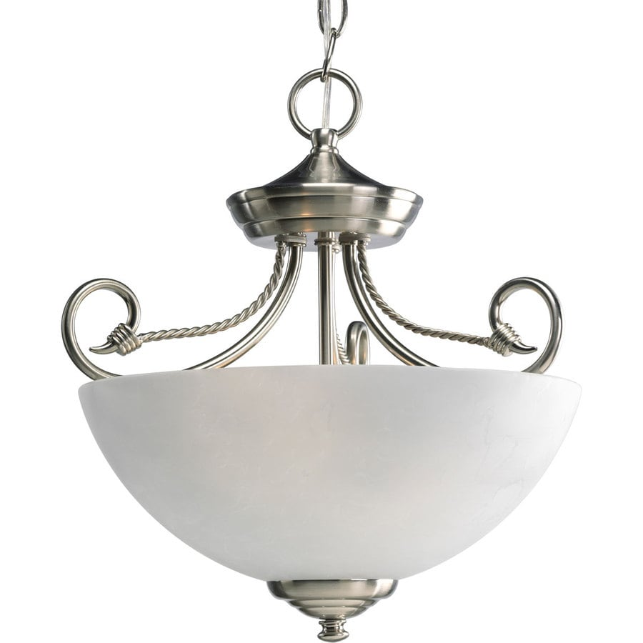 Progress Lighting Pavilion 13.62-in W Brushed Nickel Frosted Glass Semi-Flush Mount Light