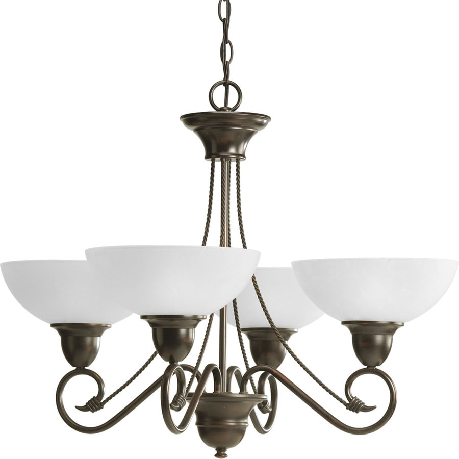 Progress Lighting Pavilion 27.875-in 4-Light Antique Bronze Etched Glass Shaded Chandelier