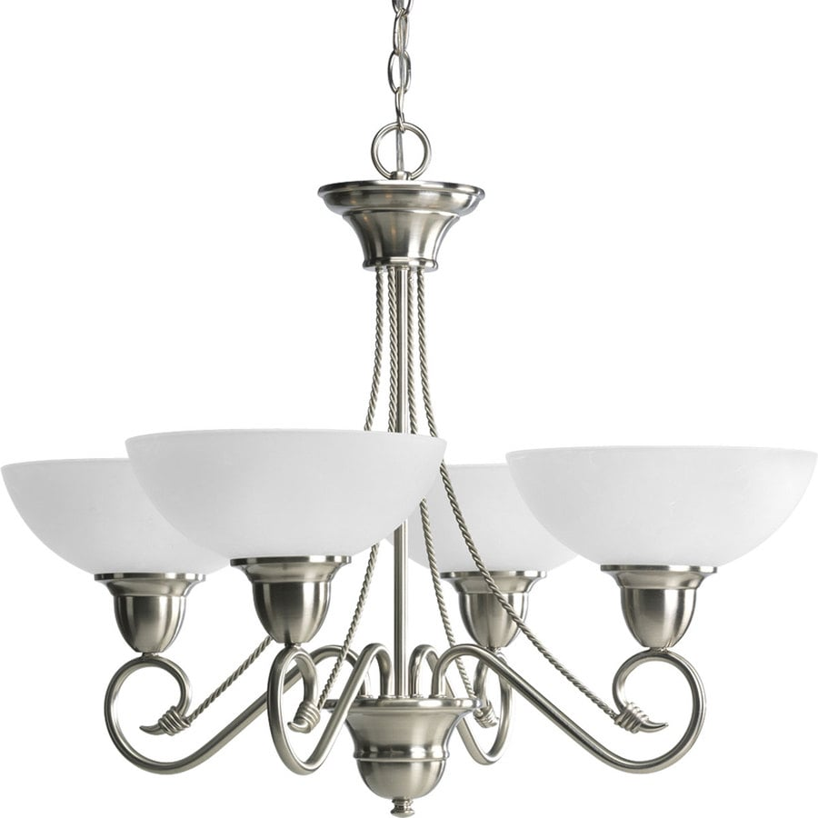 Progress Lighting Pavilion 27.875-in 4-Light Brushed Nickel Etched Glass Shaded Chandelier