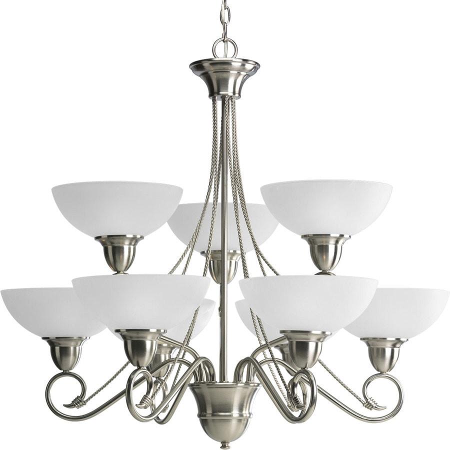 Progress Lighting Pavilion 32.625-in 9-Light Brushed nickel Etched Glass Tiered Chandelier
