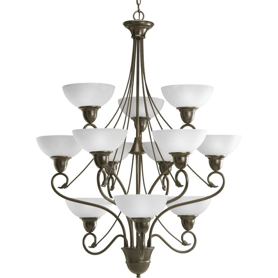 Progress Lighting Pavilion 34.75-in 12-Light Antique Bronze Etched Glass Tiered Chandelier