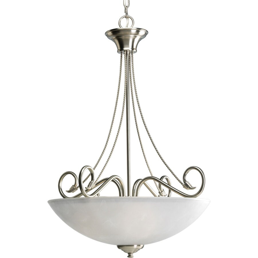 Progress Lighting Pavilion 22.125-in 3-Light Brushed Nickel Etched Glass Shaded Chandelier