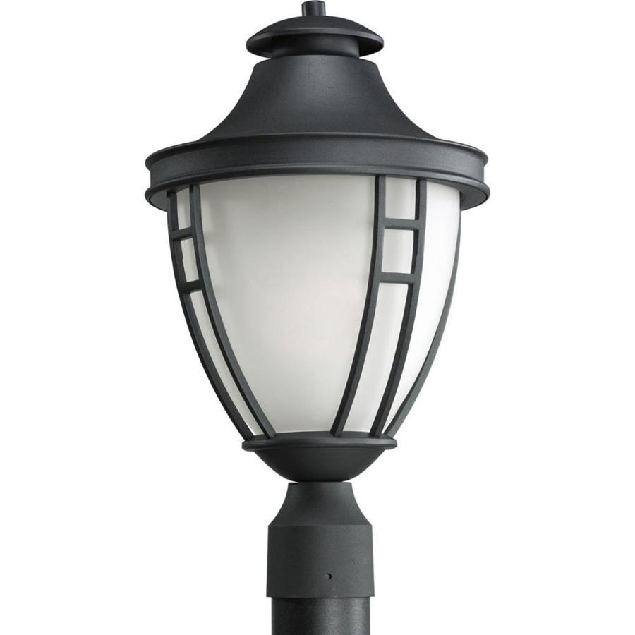 Shop progress lighting fairview 1825 in h textured black for Lamp post light lowes