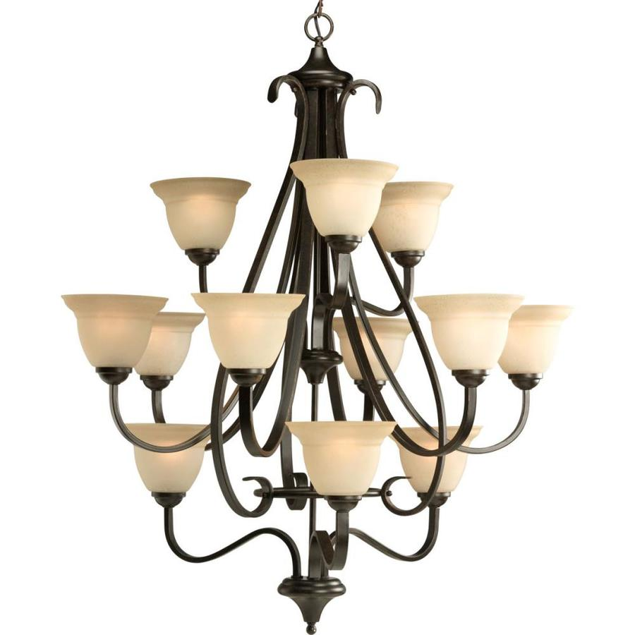 Progress Lighting Torino 34-in 12-Light Forged bronze Tinted Glass Tiered Chandelier