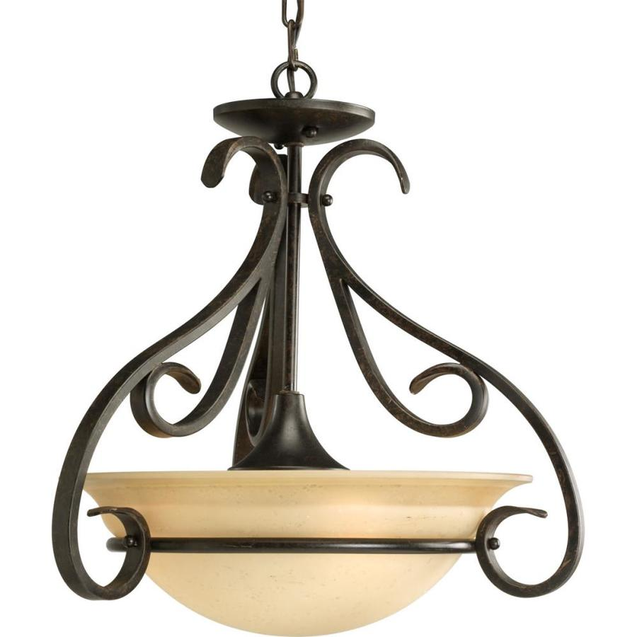 Progress Lighting Torino 18-in W Forged Bronze Tea-Stained Glass Semi-Flush Mount Light