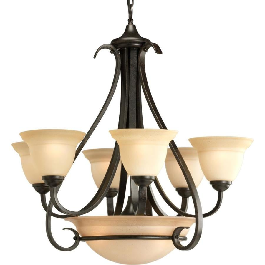 Progress Lighting Torino 28.625-in 6-Light Forged Bronze Tinted Glass Shaded Chandelier