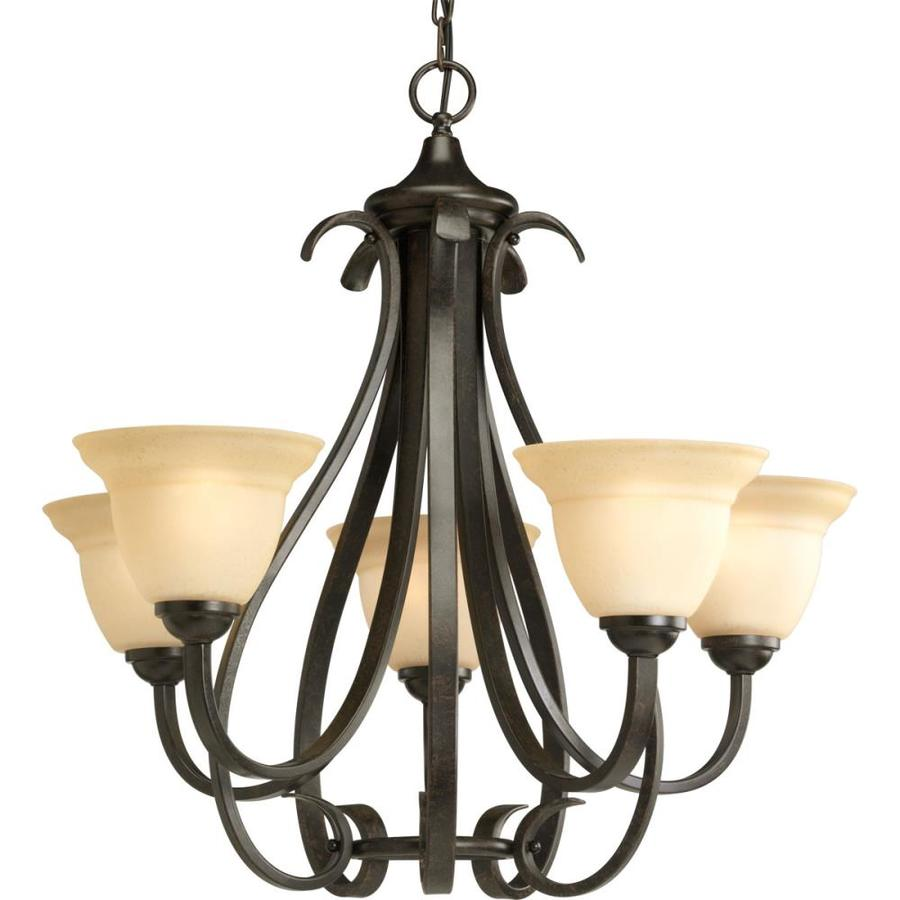 Progress Lighting Torino 26.125-in 5-Light Forged Bronze Tinted Glass Shaded Chandelier