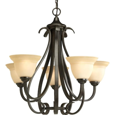 Torino 5 Light Forged Bronze Transitional Tinted Gl Shaded Chandelier