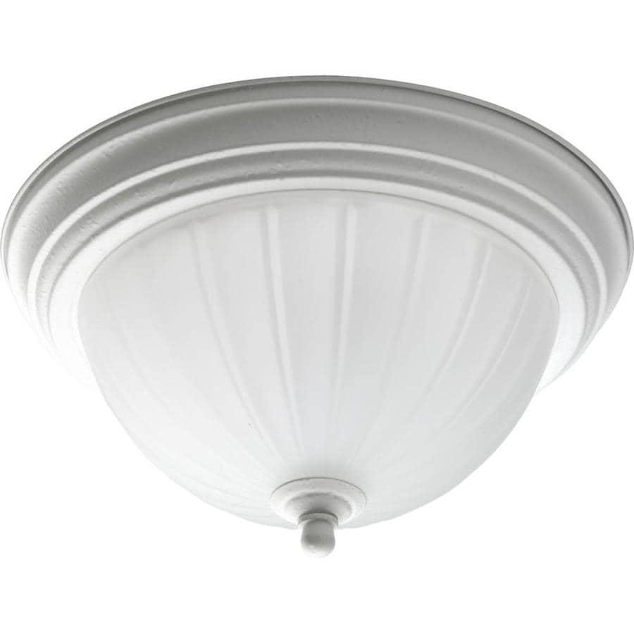 Progress Lighting Melon 11.375-in W White Flush Mount Light