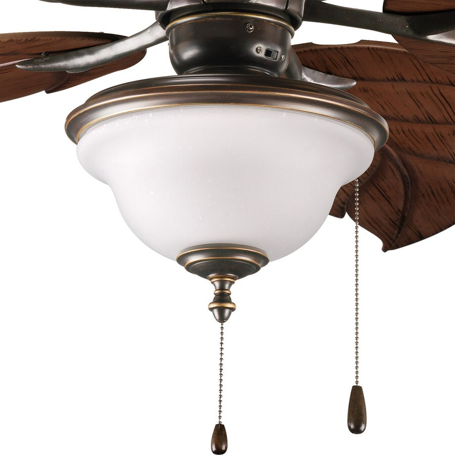 Progress Lighting Ashmore 2-Light Antique Bronze Incandescent Ceiling Fan Light Kit with Frosted Glass