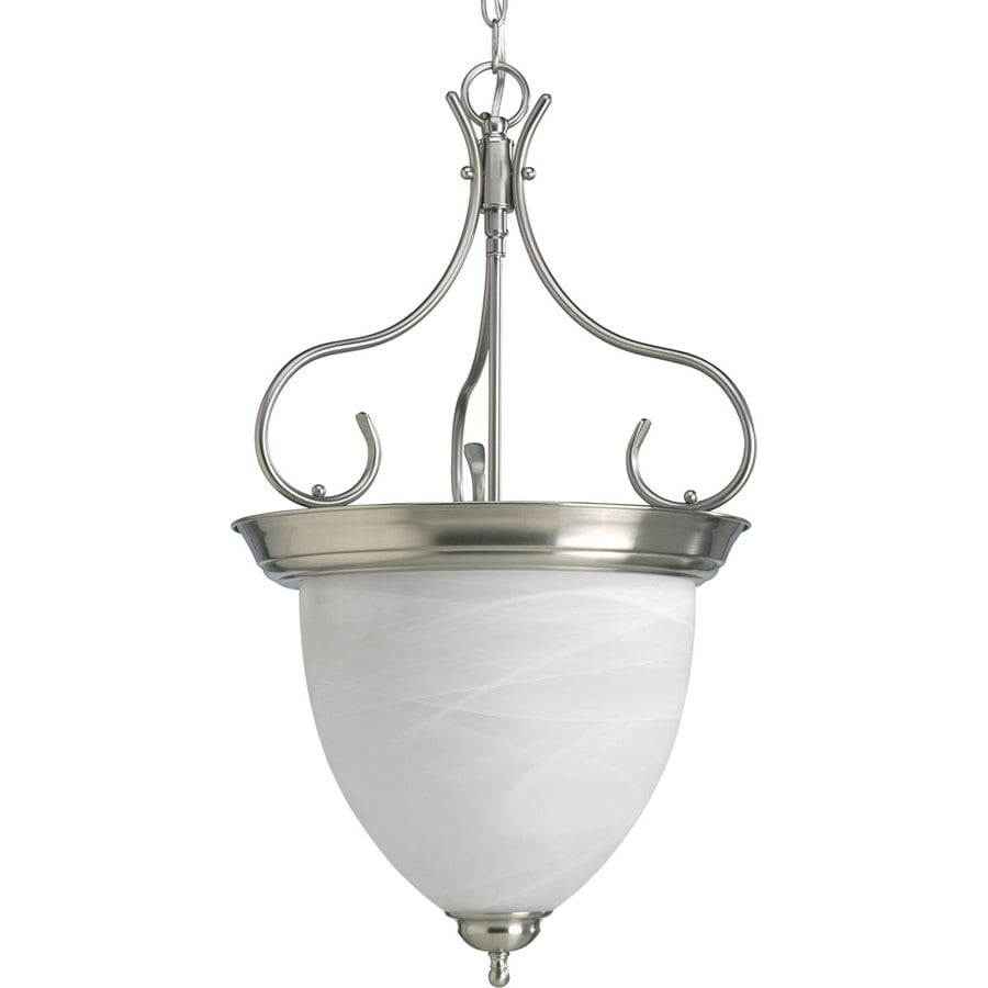 Progress Lighting 15.875-in 4-Light Brushed Nickel Alabaster Glass Shaded Chandelier