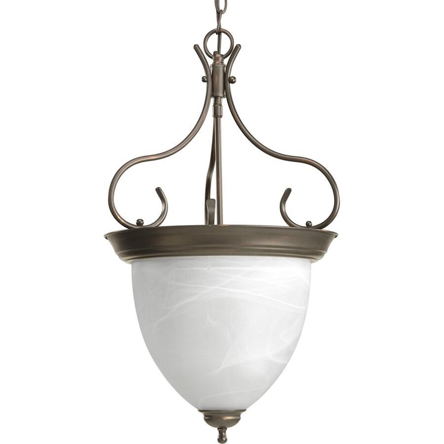 Progress Lighting 15.875-in 4-Light Antique bronze Alabaster Glass Shaded Chandelier