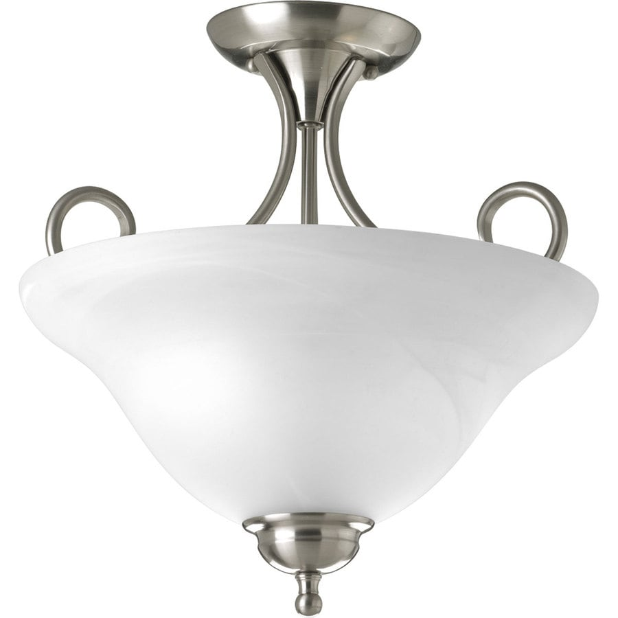 Progress Lighting 13.25-in W Brushed Nickel Frosted Glass Semi-Flush Mount Light