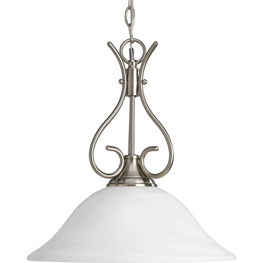Progress Lighting Alabaster Glass 15.37-in Brushed Nickel Single Alabaster Glass Bell Pendant