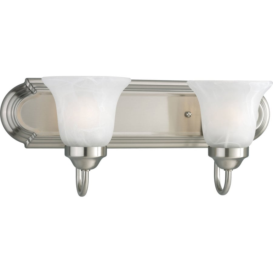 Progress Lighting Alabaster Glass 2-Light 7.25-in Brushed Nickel Bell Vanity Light